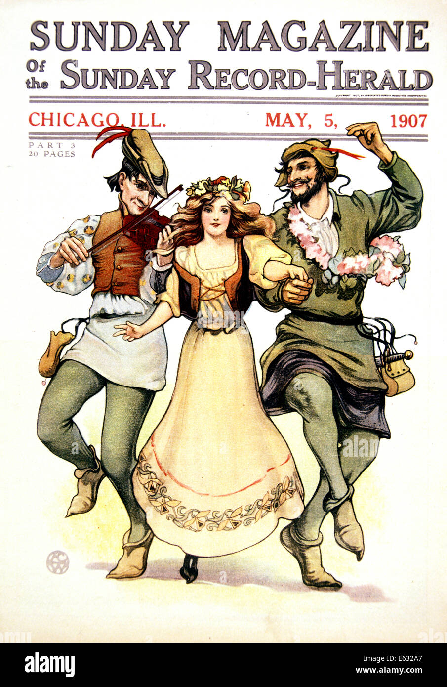 ILLUSTRATION OF MEDIEVAL MAY DAY FOLK DANCERS WOMAN TWO MEN FROM MAY 1907 CHICAGO SUNDAY MAGAZINE - Stock Image