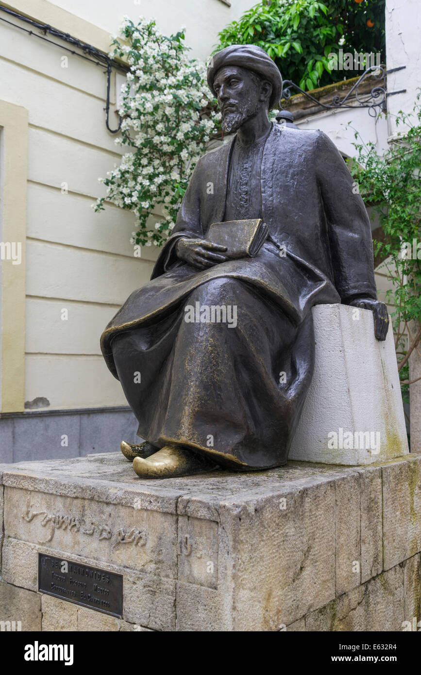 Monument to the Jewish philosopher and physician Ben Maimonides, also Moses Maimonides, Córdoba, Andalusia, - Stock Image