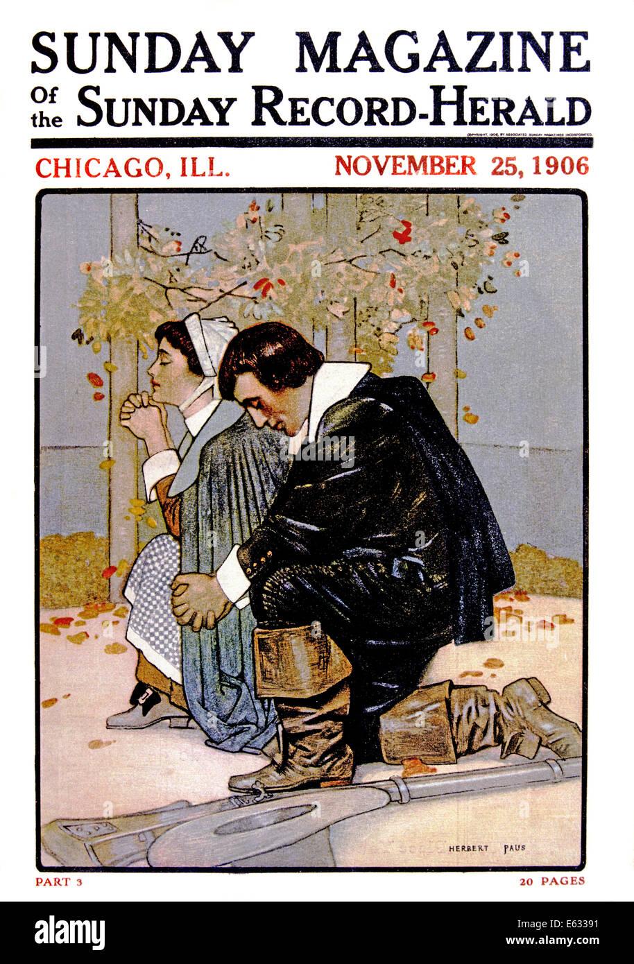 1600s PILGRIM COUPLE KNEELING IN PRAYER 1906 MAGAZINE  ILLUSTRATION - Stock Image