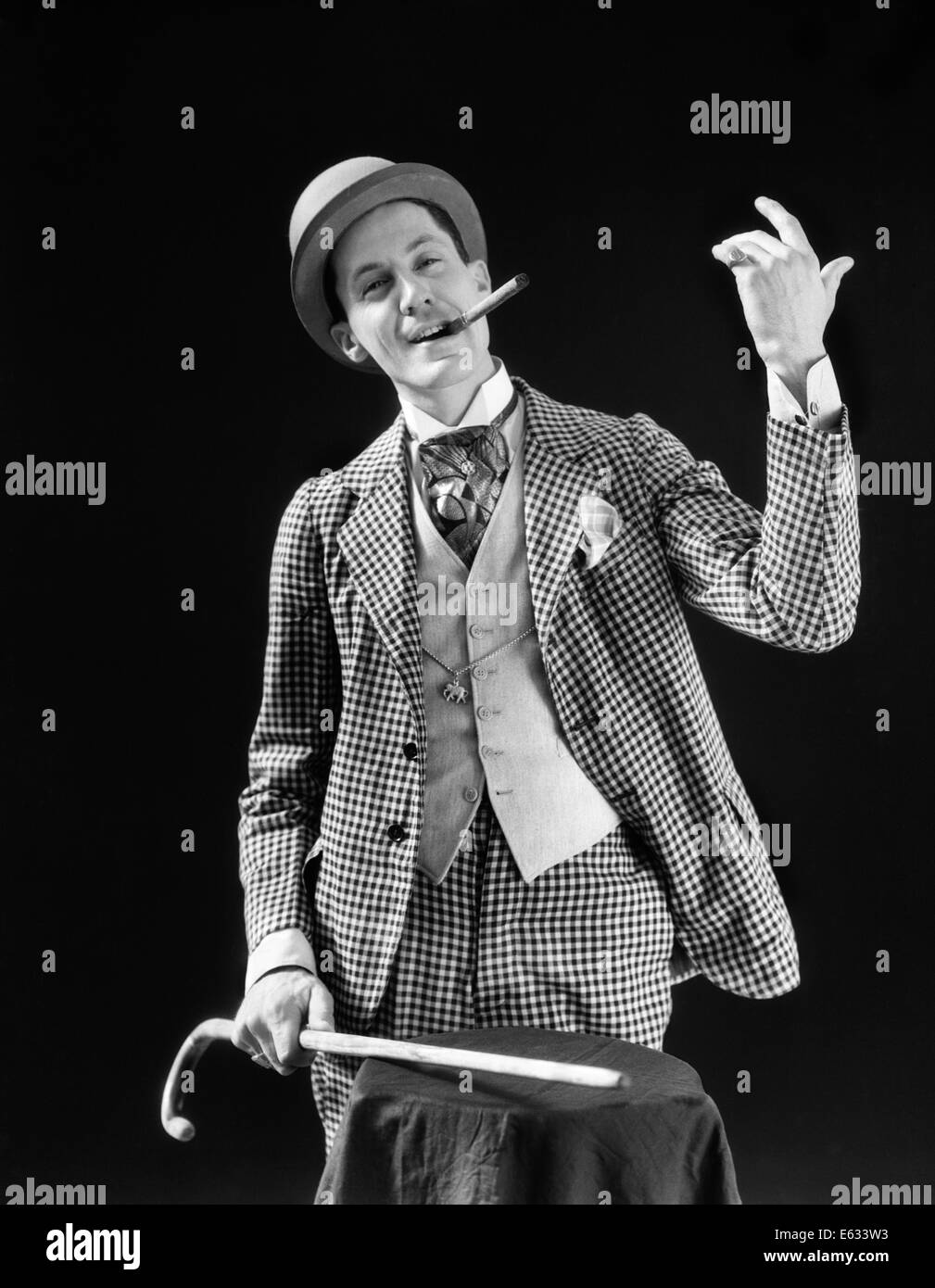 3b577362f6d 1910s 1920s CHARACTER CON MAN BARKER BOWLER HAT LOUD VAUDEVILLE TYPE  CLOTHES HOLDING CANE SMOKING CIGAR CONFIDENCE GAME