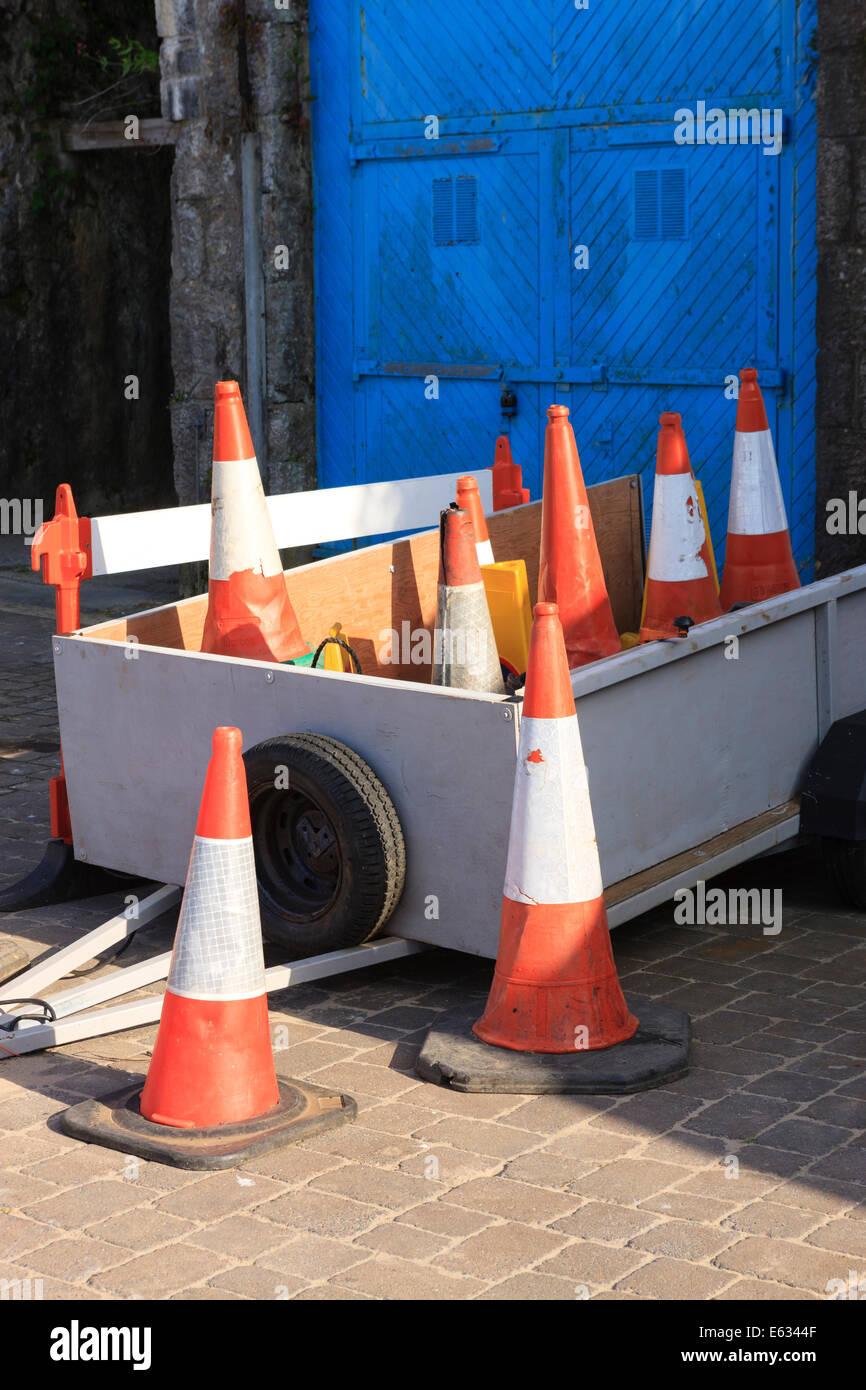 traffic cones trailer - Stock Image