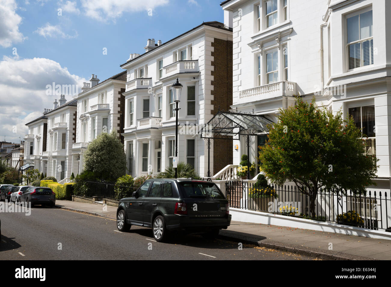 Exclusive properties, Phillimore Gardens W8, Kensington, London, England, United Kingdom, Europe - Stock Image