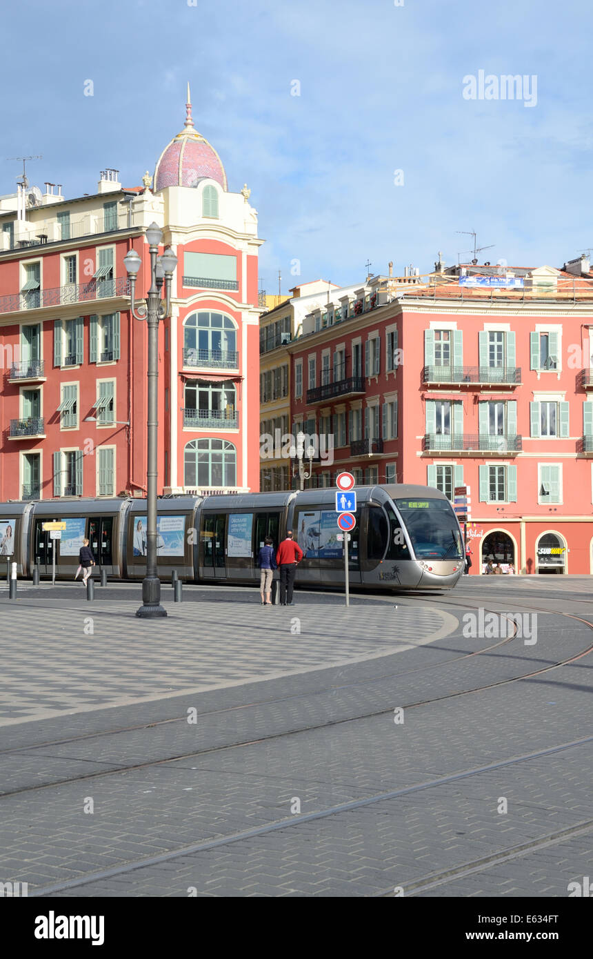 Place Massena, Town Square or Plaza & Tram or Tramway Nice Alpes-Maritimes France - Stock Image
