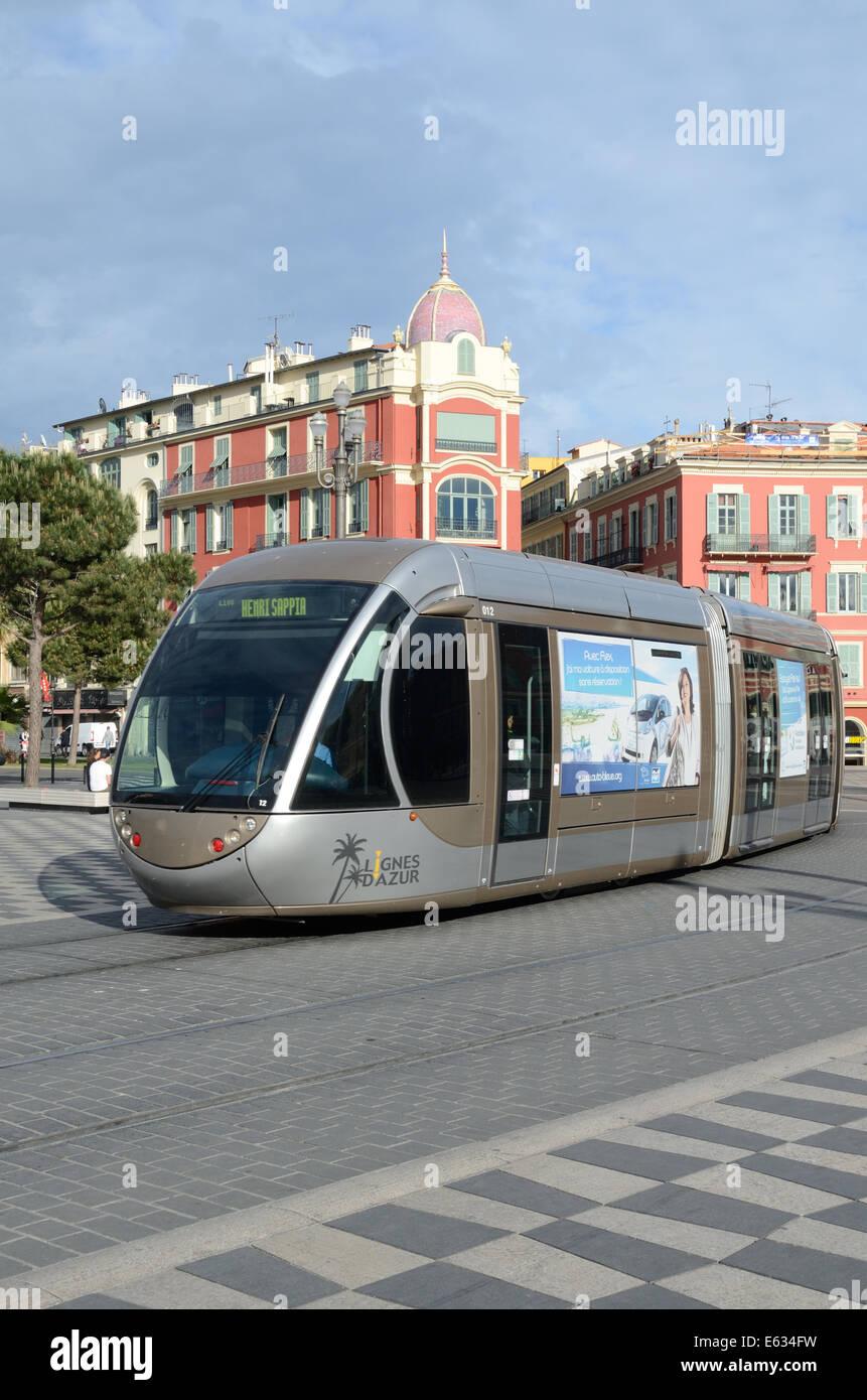 Tram or Tramway on Place Massena Nice Alpes-Maritimes France - Stock Image