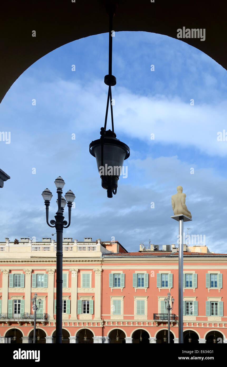 Historic Italianate Architecture & Arch on Place Massena or Massena Town Square Nice Alpes-Maritimes France - Stock Image