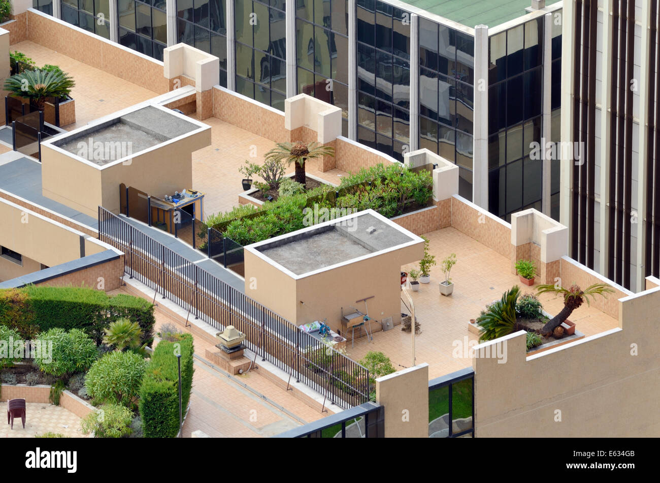 Roof Terraces Or Roof Top Gardens Of Luxury Apartments Or Up Market Flats  Monaco