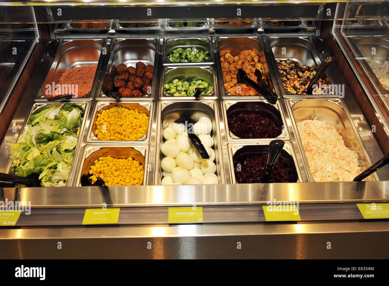 Salad buffet in a supermarket UK - Stock Image