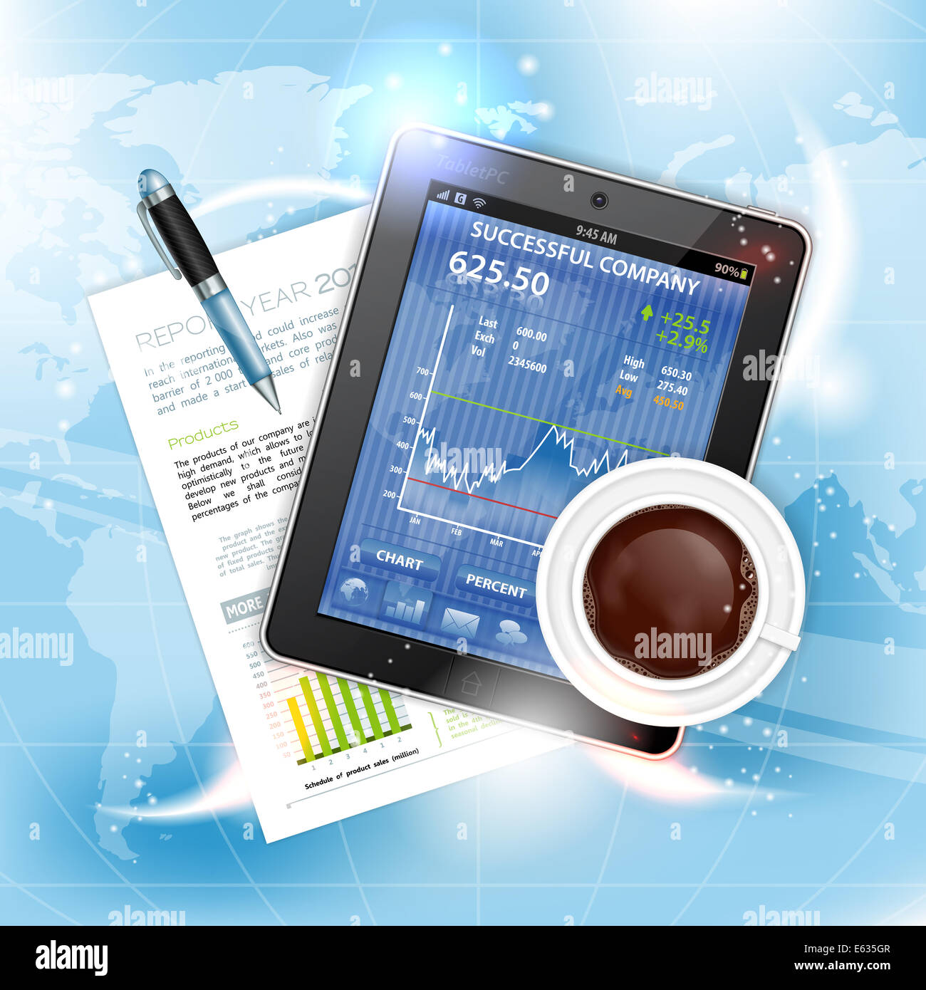 Global Business, Internet and Corporate Work Concept with Tablet PC, Report, Pen and Coffee Cup on abstract background - Stock Image