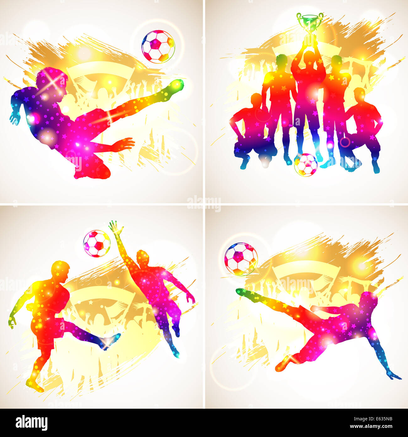 Bright Rainbow Silhouette Soccer Players, Goalkeeper, Team Champion with Cup, Fans on grunge background, illustration - Stock Image