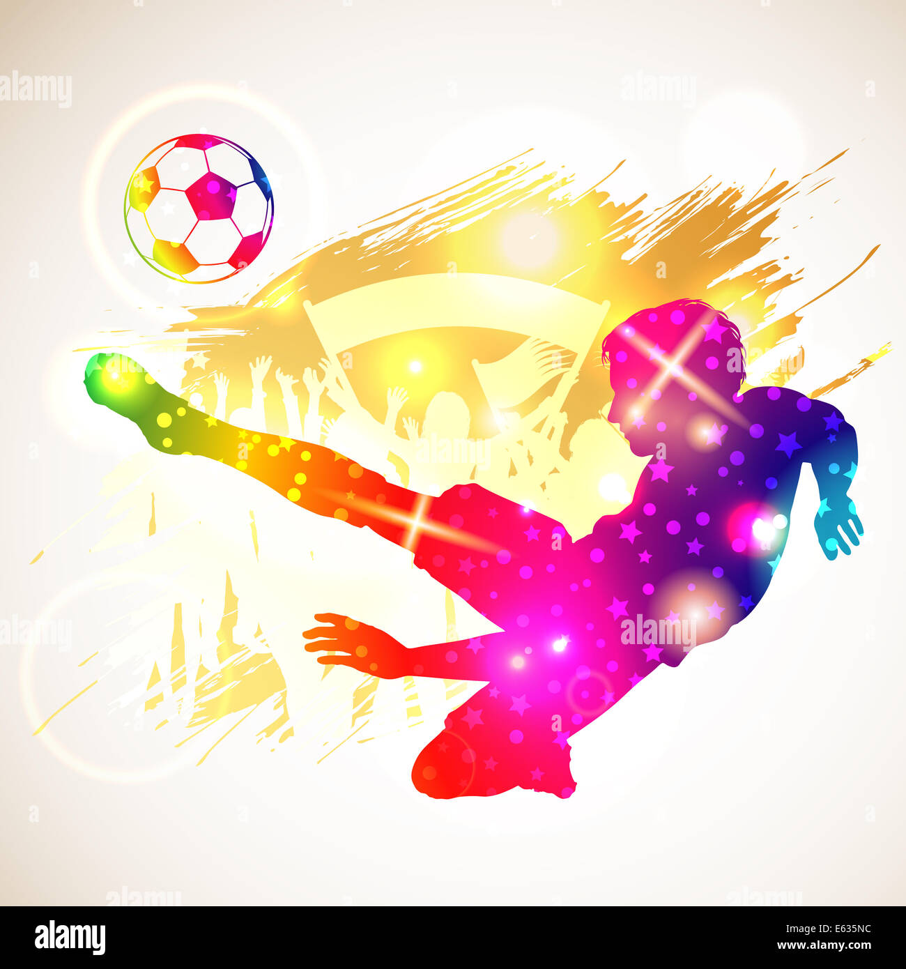 Bright Rainbow Silhouette Soccer Player and Fans on grunge background, illustration - Stock Image