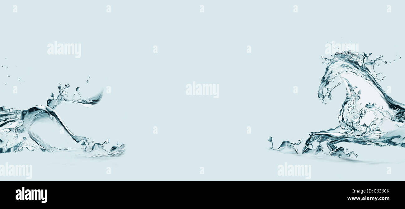 A frame of a water horse made of water galloping in water. - Stock Image