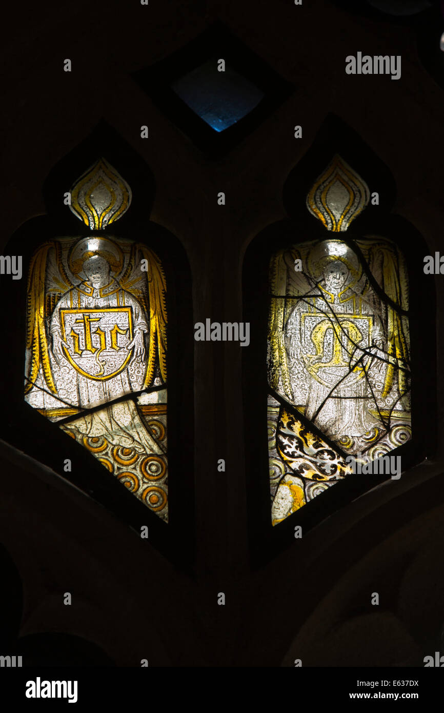 UK England, Dorset, Hazelbury Bryan, Droop, Church of St Mary and St James, 15th Century window glass - Stock Image