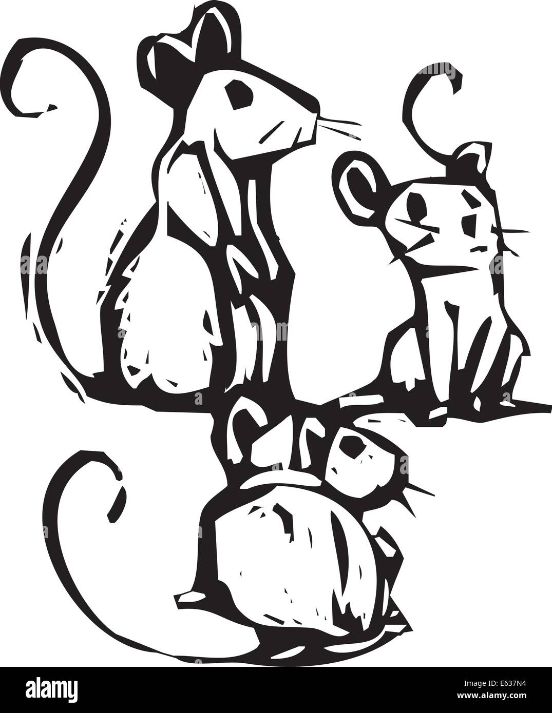 Three mice sitting together listening for something. - Stock Vector