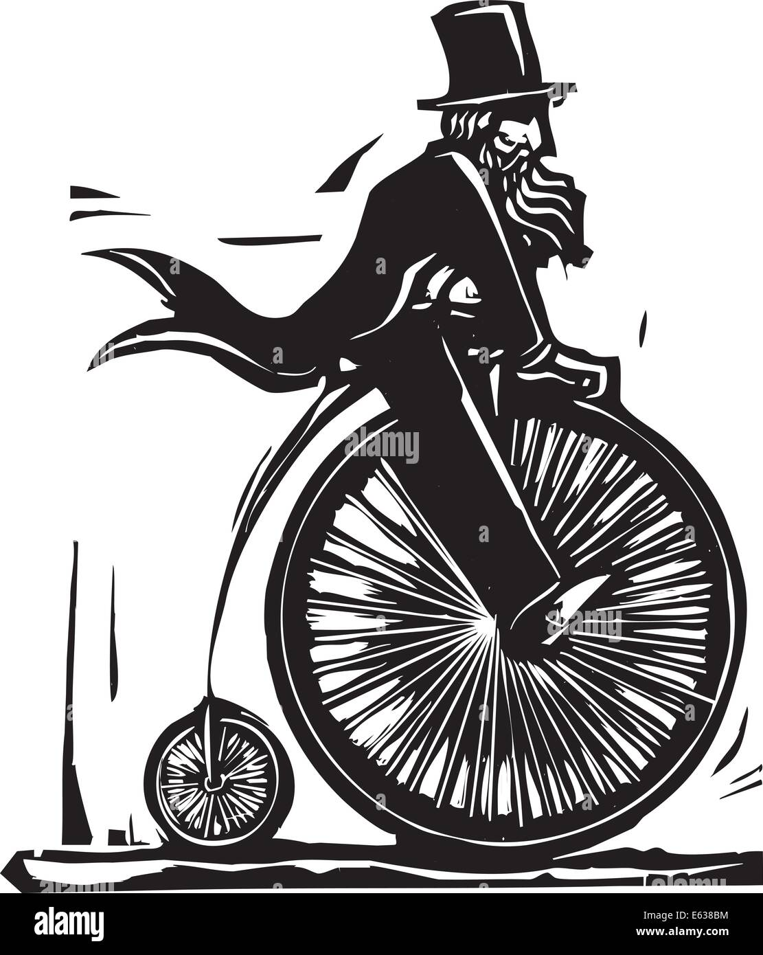 Man in top hat on a velocipede bicycle. - Stock Image