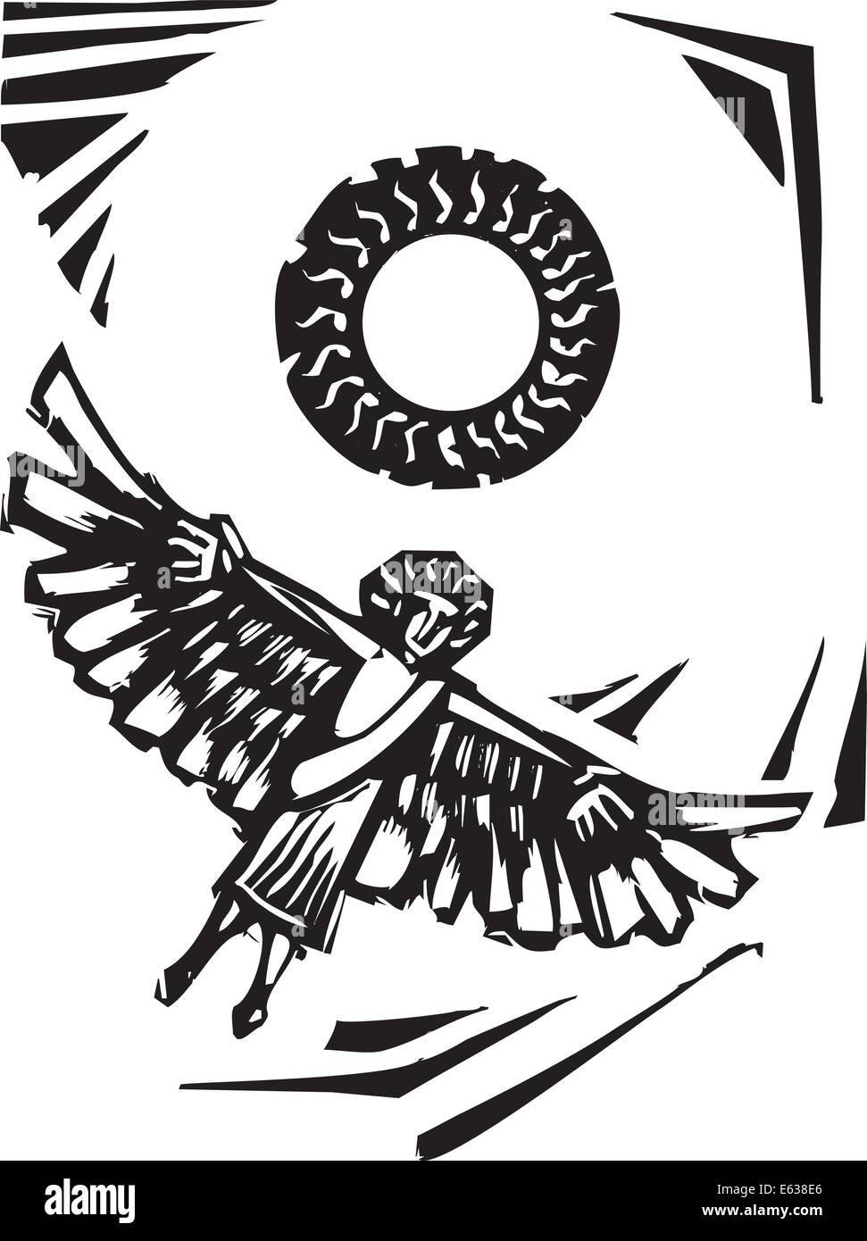 Greek myth of winged Icarus getting to close to the sun. - Stock Image