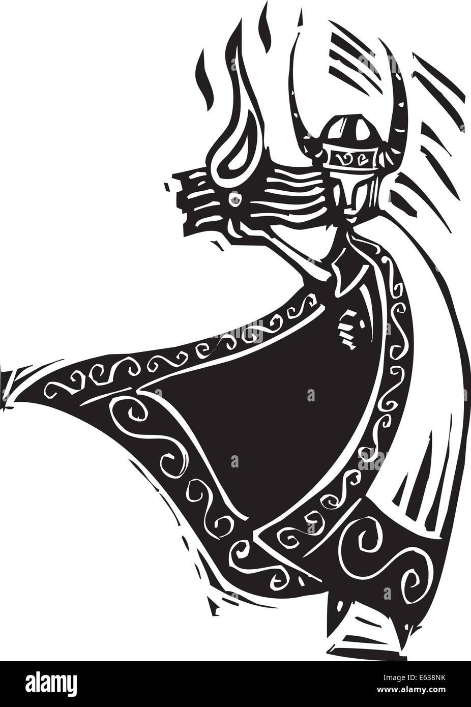 Woodcut Style Image Of The Viking God Loki Stock Vector Art