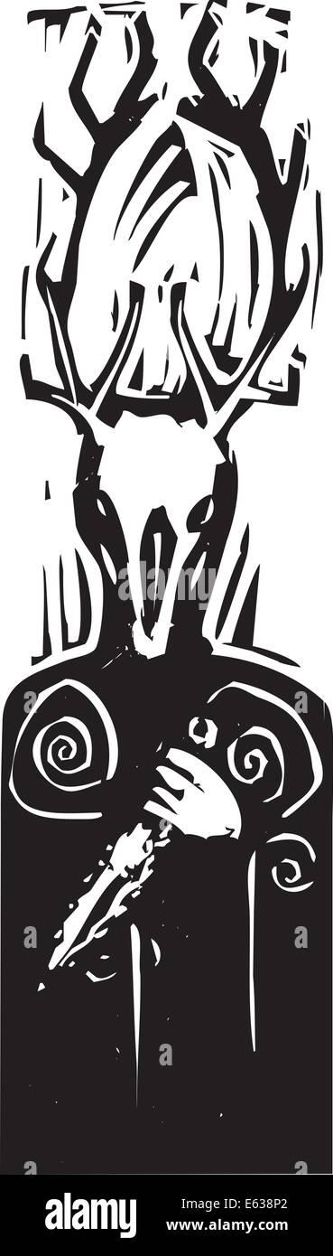 Celtic Pagan horned god Cernunnos with deer head and flint dagger. - Stock Vector