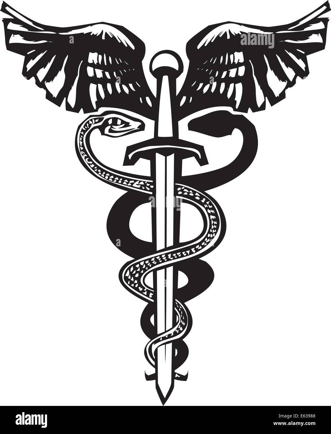 Woodcut variant image of the Caduceus with the snake entwined around a sword. - Stock Vector