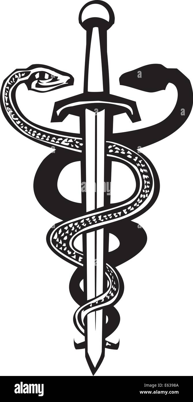 Woodcut variant image of the Caduceus with two snakes entwined around a sword. - Stock Vector