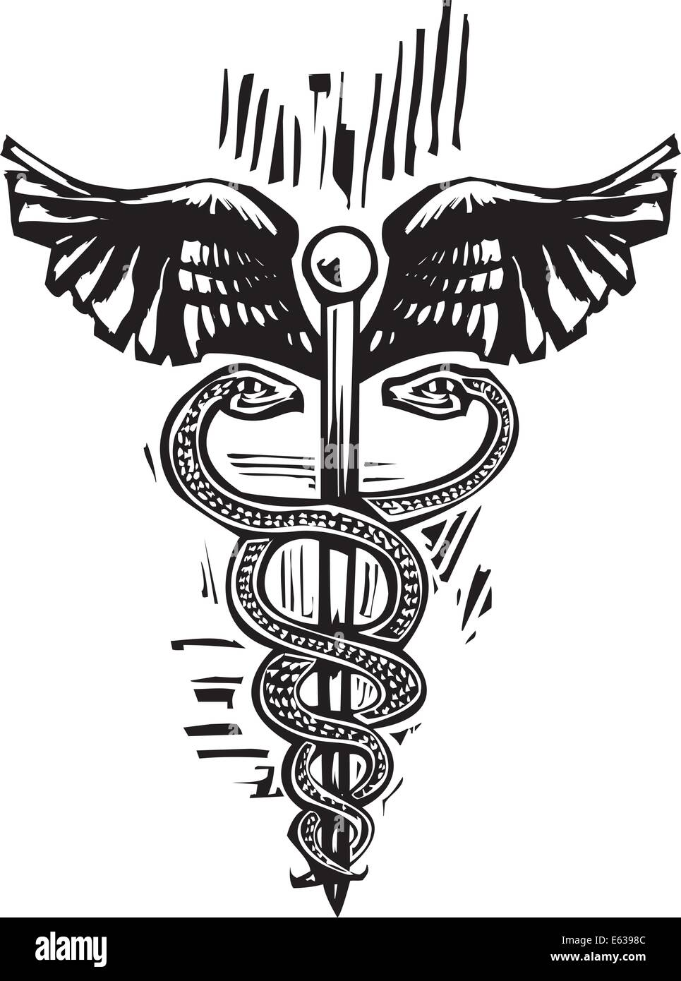 Woodcut image of the Caduceus the snake entwined staff carried by Hermes in Greek mythology and is the symbol of - Stock Vector