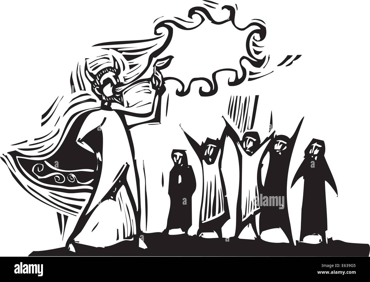 Woodcut style image of a man in a devil costume blowing fire at a circus. - Stock Vector