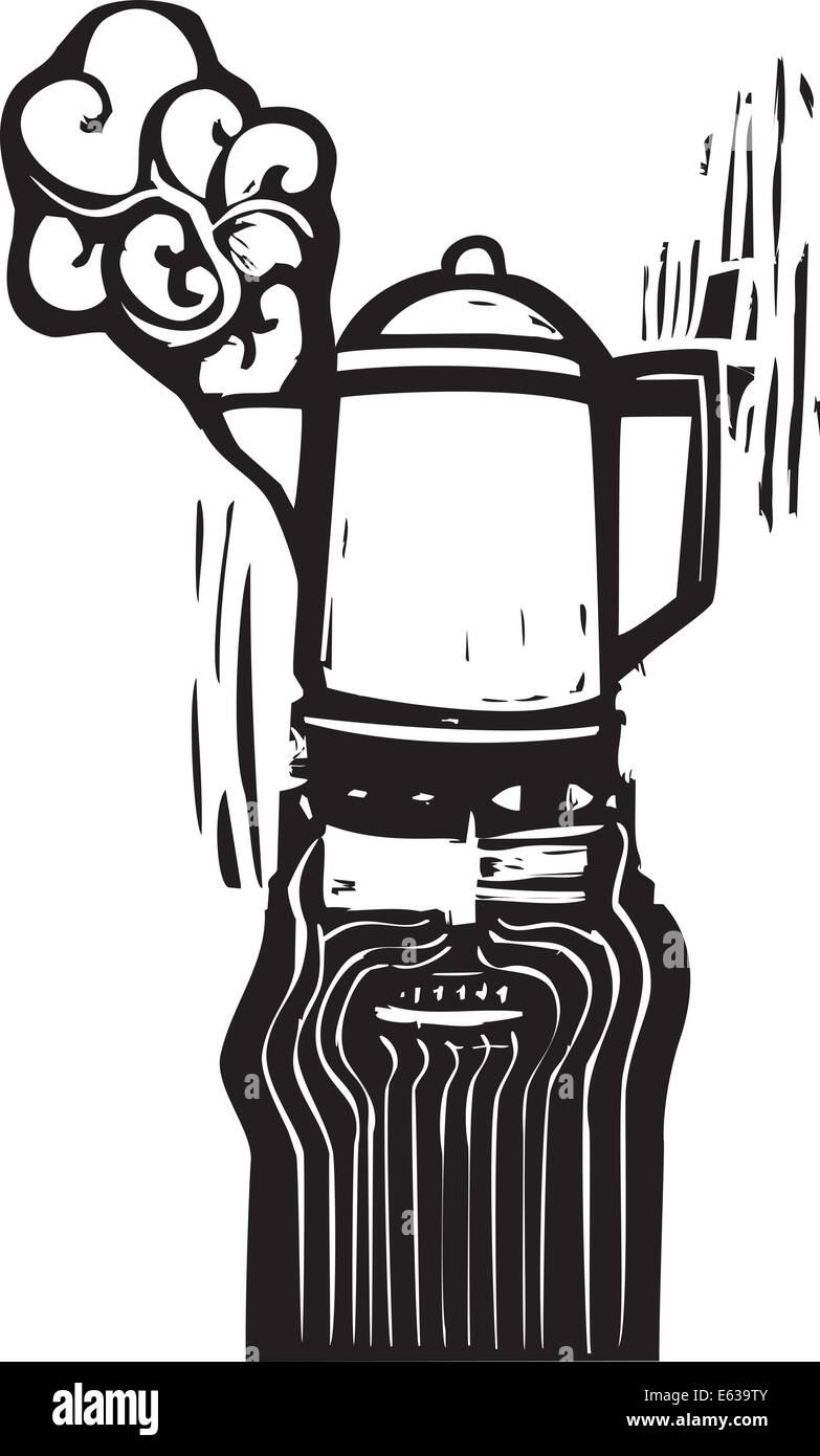 Crazy looking man with a coffee pot hat in woodcut style Stock ...
