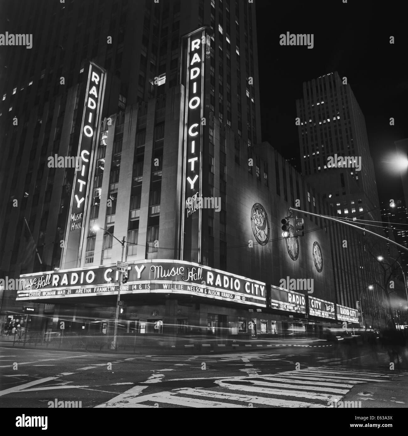 Radio City Music Hall by Night - Stock Image