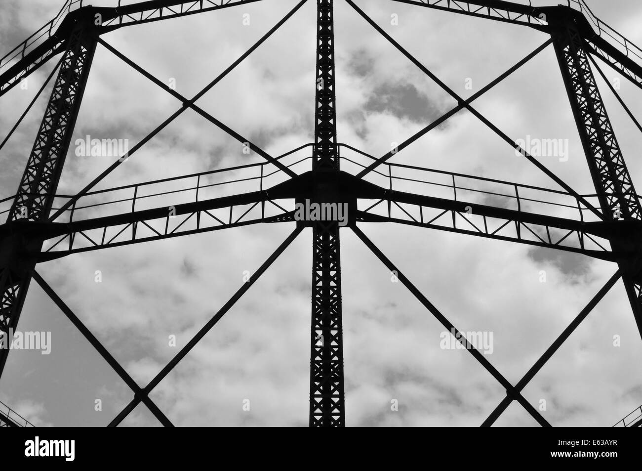 Industrial gas holder frame iron structure exterior abstract Stock ...