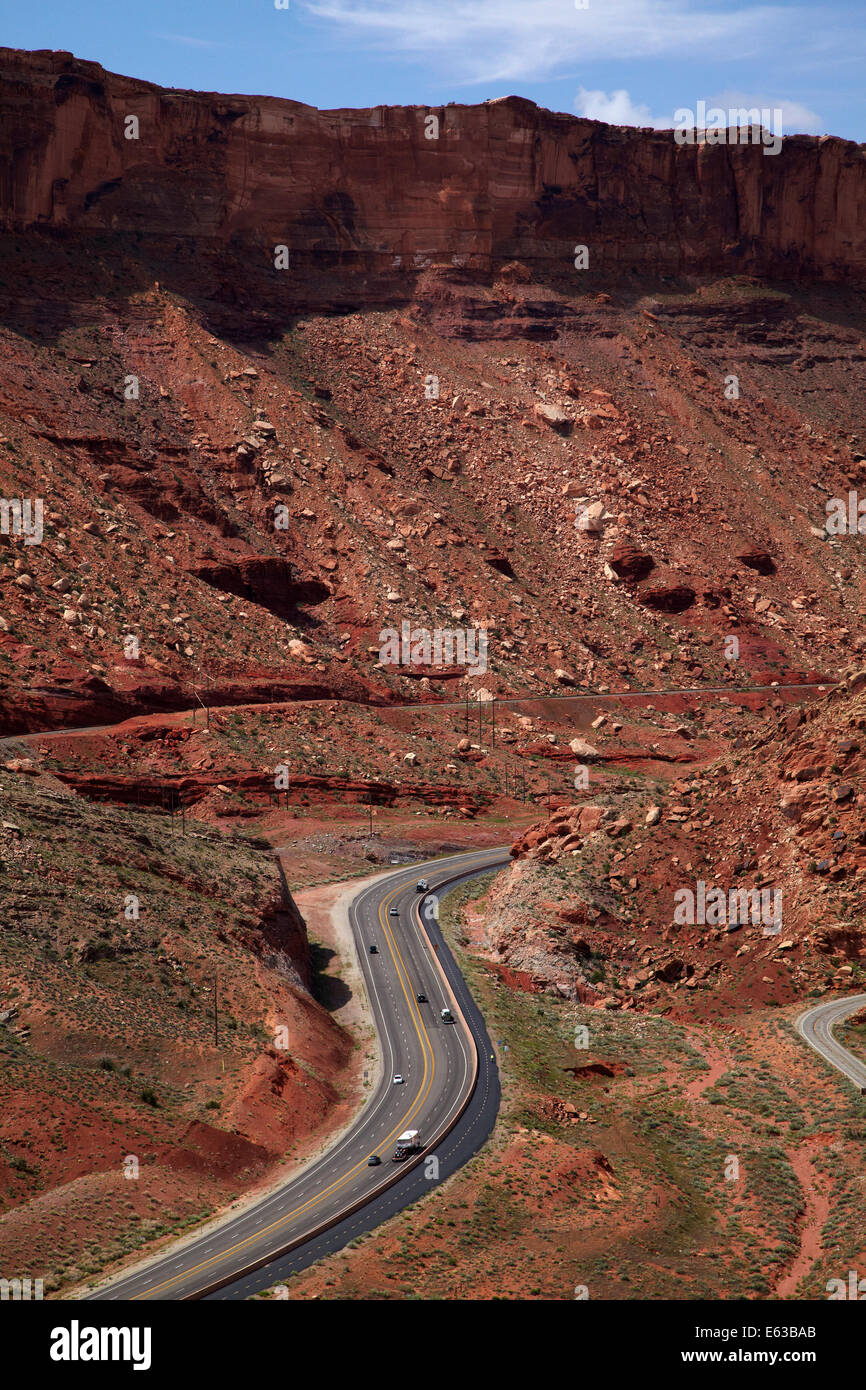 US route 191 by Arches National Park, near Moab, Utah, USA - Stock Image