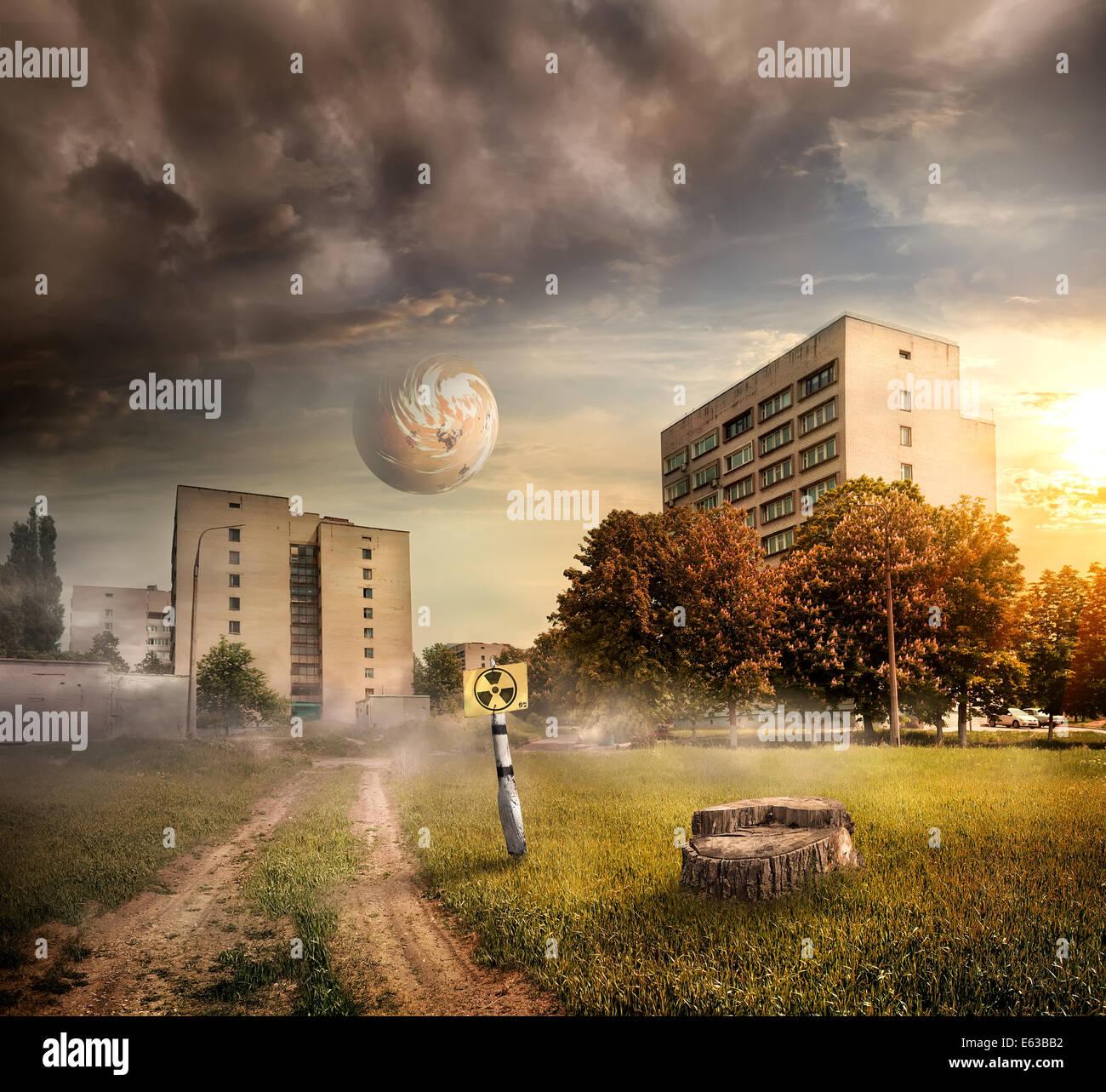 Fantastic landscape. City after radioactive contamination - Stock Image