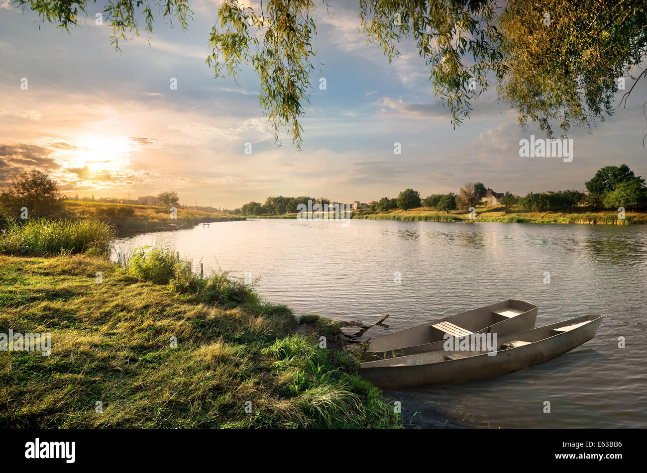 The river in the countryside in late summer - Stock Image
