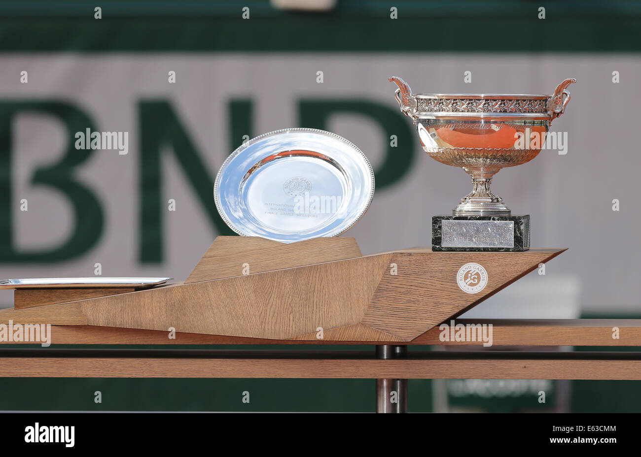 Men`s Singles  trophies, French Open 2014,Roland Garros, Paris,France - Stock Image