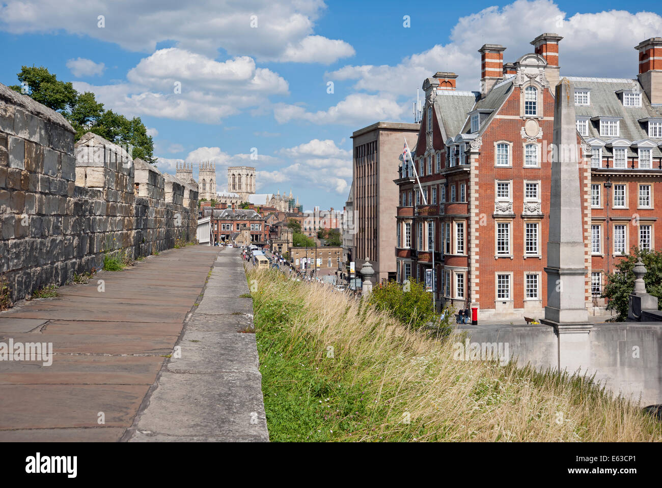 City walls and the Minster in the background York North Yorkshire England UK United Kingdom GB Great Britain - Stock Image