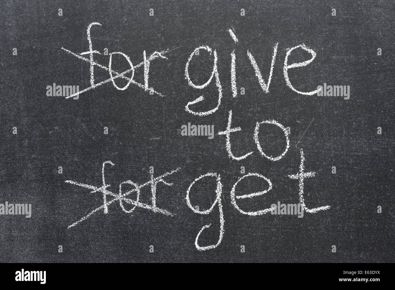 forgive to forget transformed to the give to get phrase on the blackboard - Stock Image