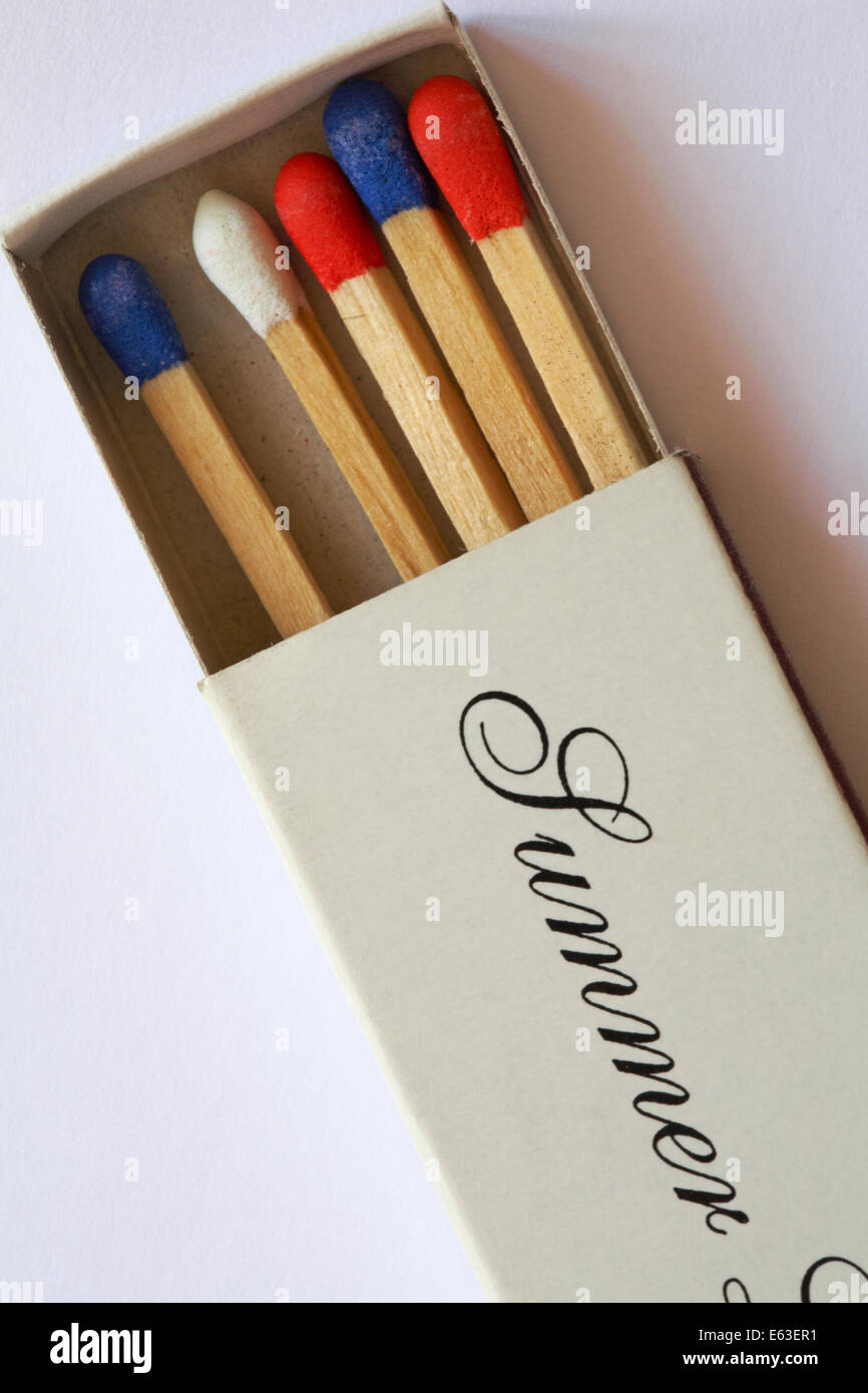 red white and blue matches in match box with the word Summer on on white background - Stock Image