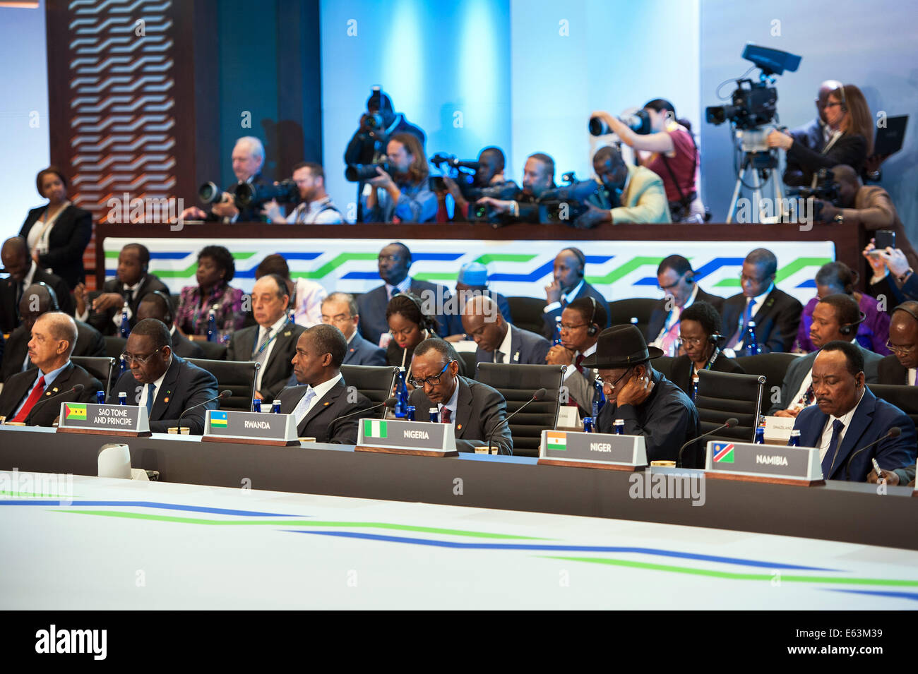 African heads of state listen as President Barack Obama delivers remarks at the U.S.-Africa Leaders Summit Session - Stock Image