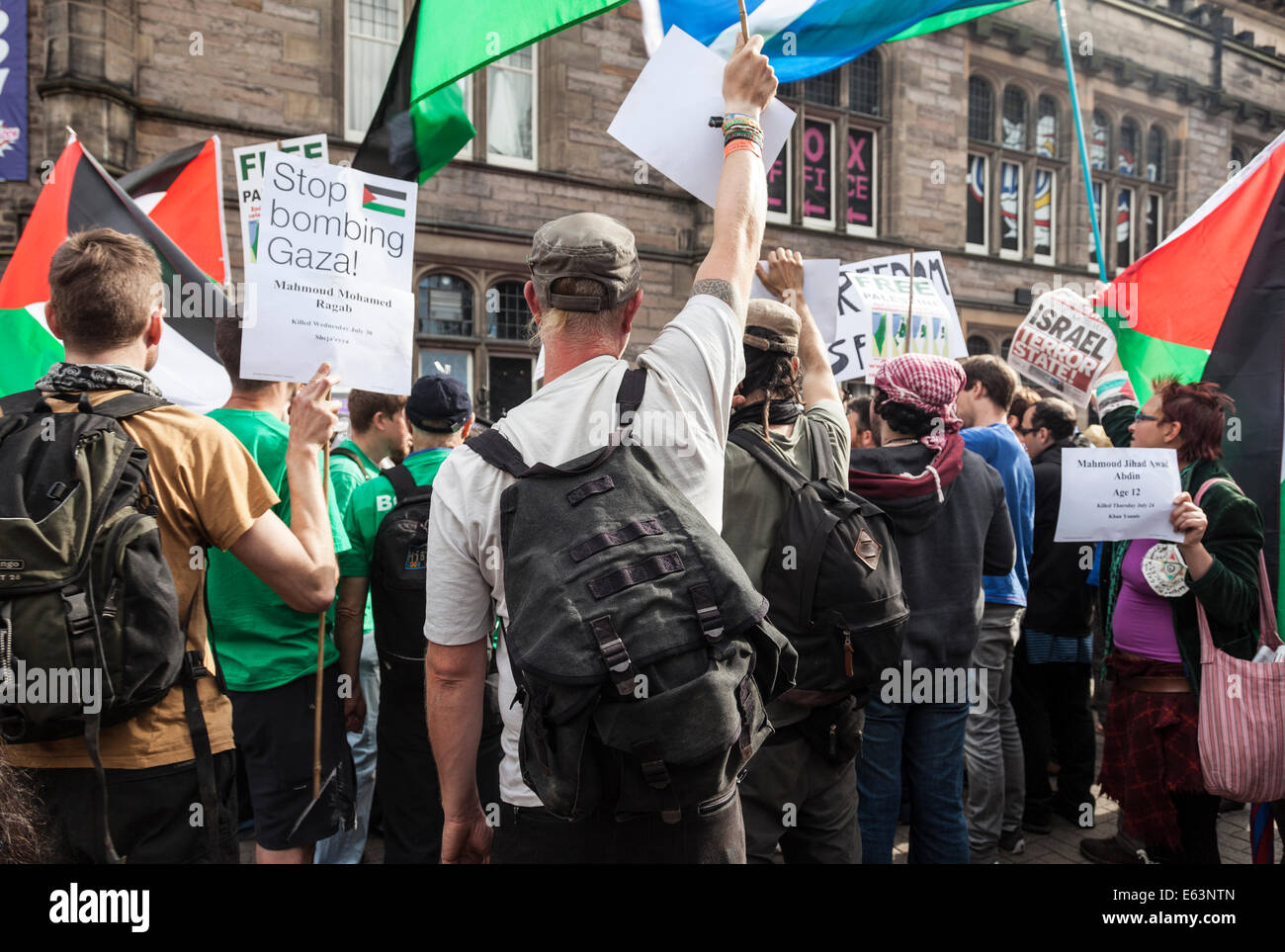 Anti-Israel / Stop Bombing Gaza protest in Bristo Square Edinburgh which closed Fringe show 'The City' by - Stock Image