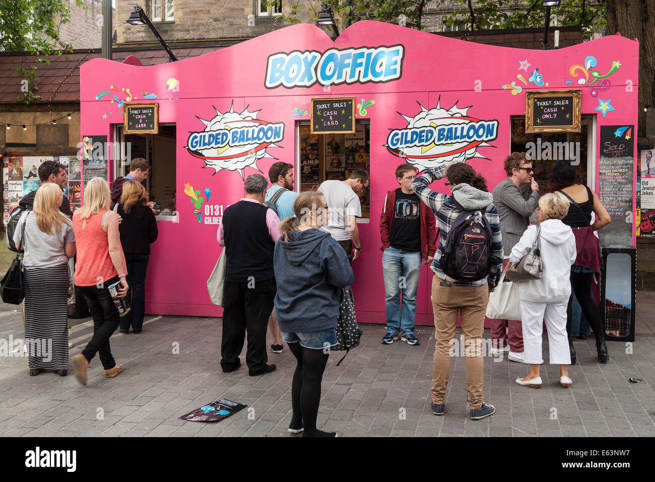 edinburgh fringe festival box office. People Queueing Up For Tickets At The Box Office Gilded Balloon Venues In Bristo Square During Edinburgh Festival Fringe I