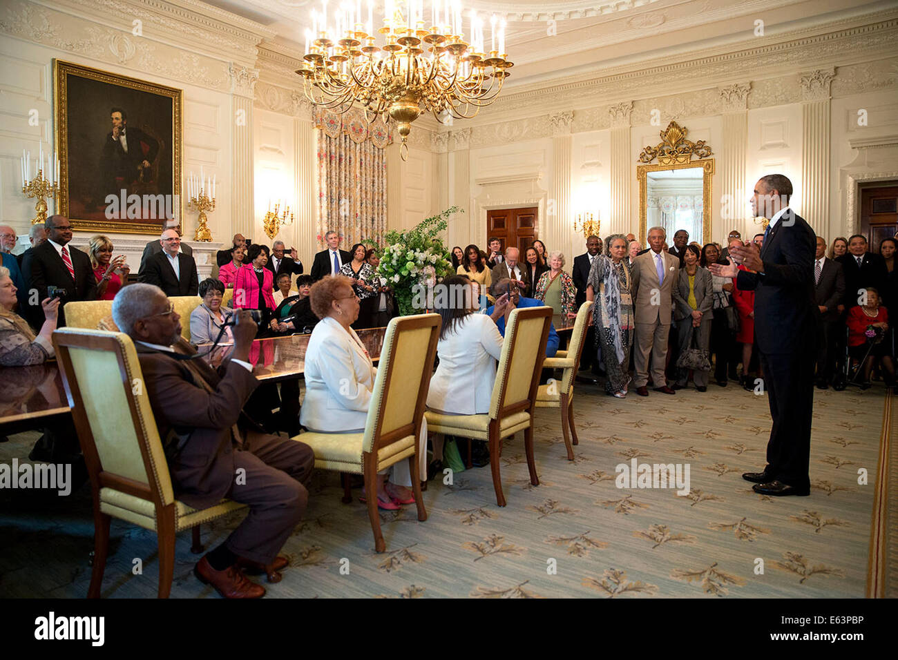 President Barack Obama speaks with Legal Defense Fund board members, leadership and guests commemorating the 60th - Stock Image