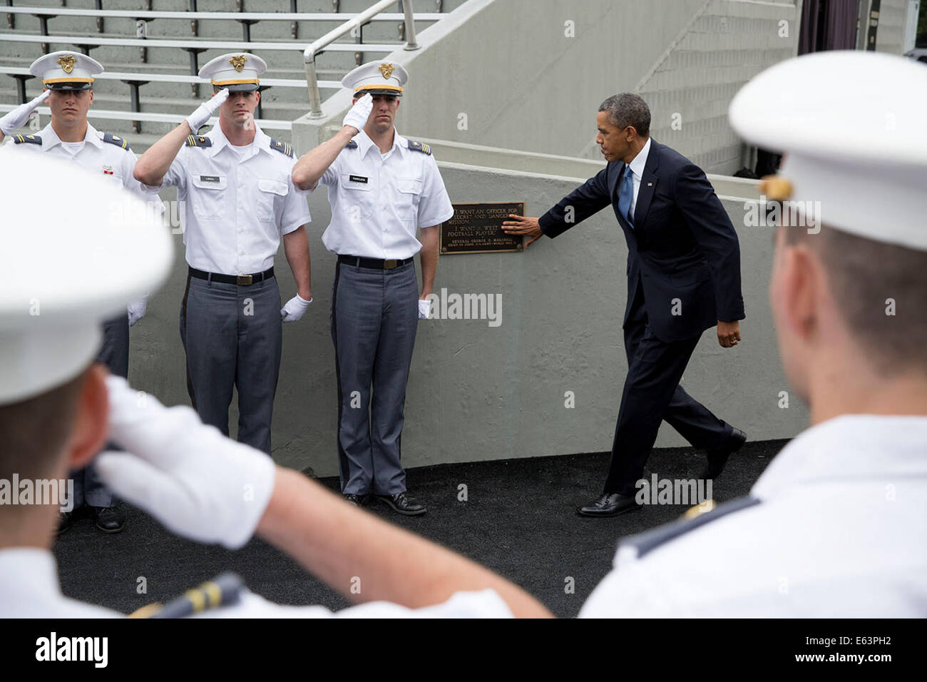 President Barack Obama touches the Marshall Plaque at Michie Stadium upon arrival for the United States Military - Stock Image