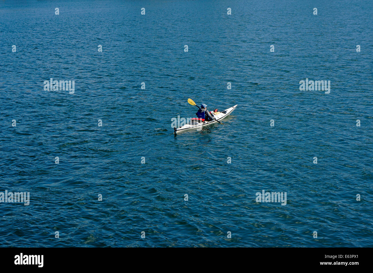 Solitary kayaker in English Bay, Vancouver, BC, Canada - Stock Image