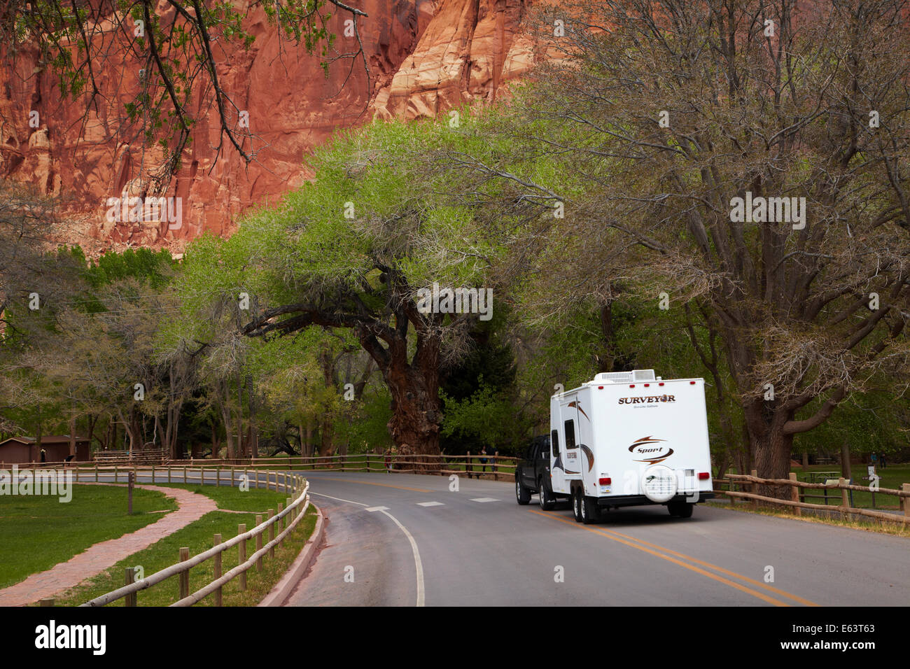 Travel trailer or caravan at Fruita, Capitol Reef National Park, Utah, USA - Stock Image