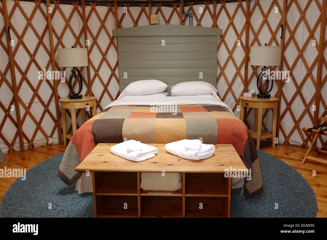 Inside a luxury yurt, known as 'glamping' instead of camping. - Stock Image