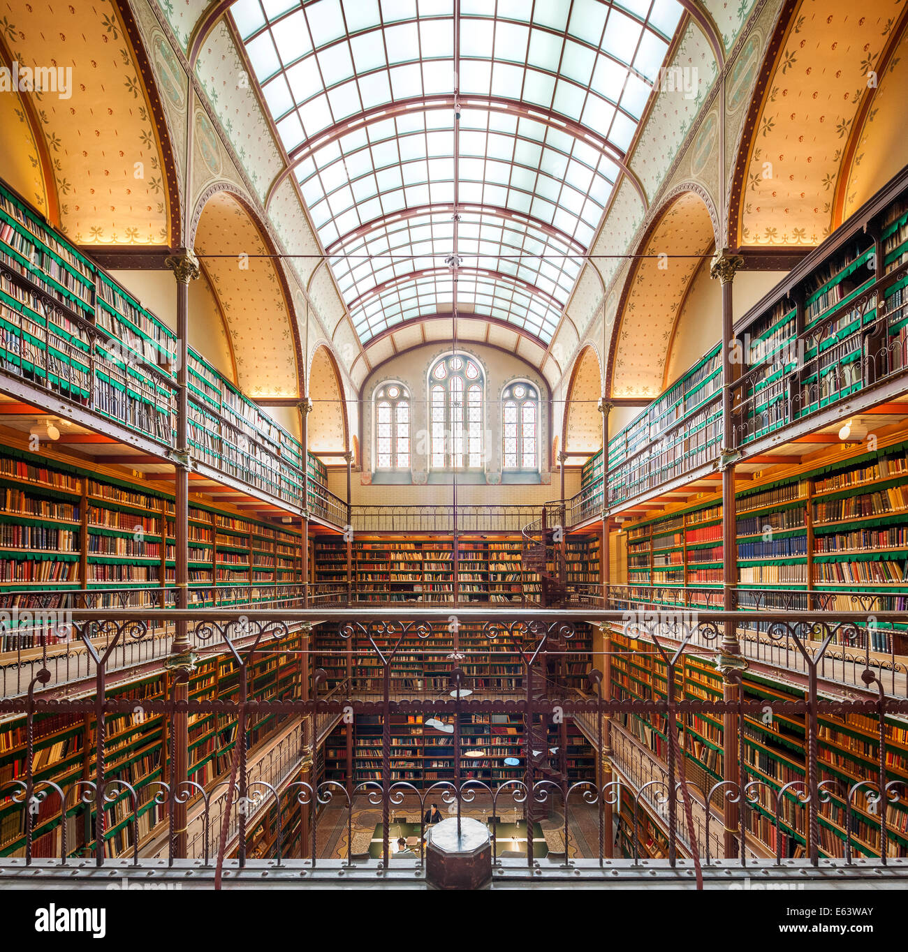 Rijksmuseum Amsterdam Library of the Amsterdam Rijksmuseum one of the most beautiful famous libraries and reading - Stock Image