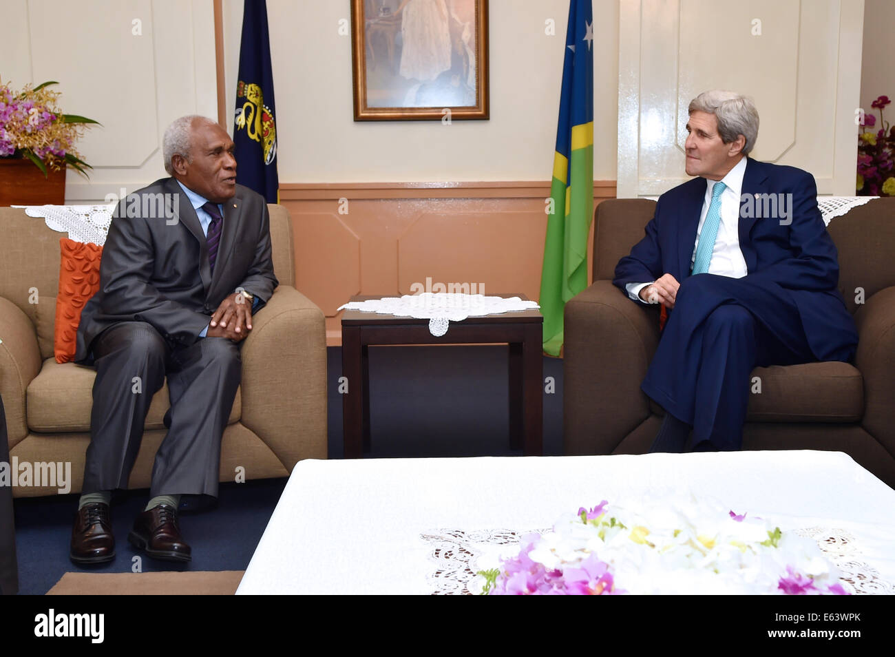 US Secretary of State John Kerry meets with Solomon Islands Governor General Frank Kabui during his visit August - Stock Image