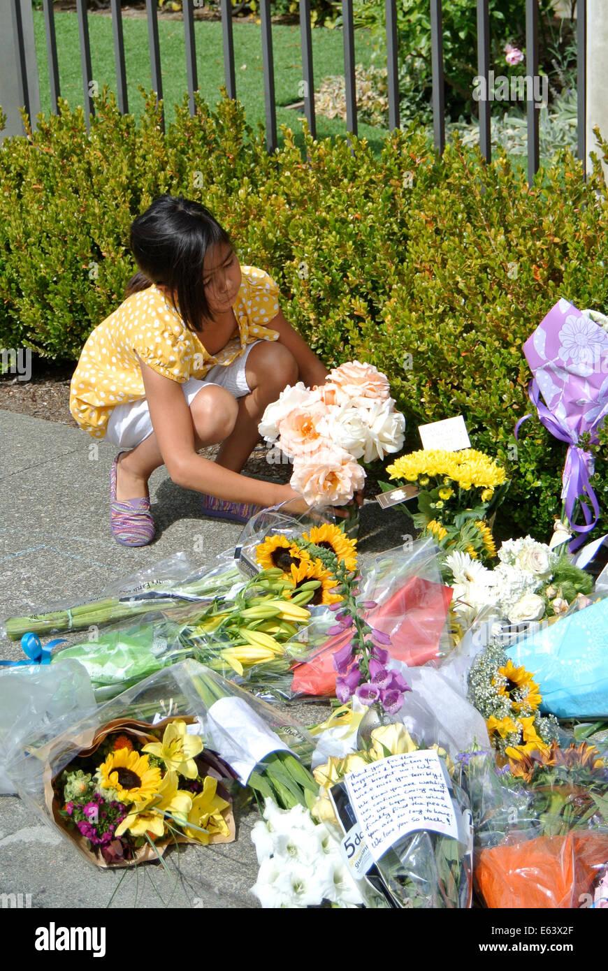 Tiburon, CA, USA. 13th Aug, 2014. August 13th, 2014, Tiburon, California, USA. Sidewalk of Robins Williams Tiburon - Stock Image