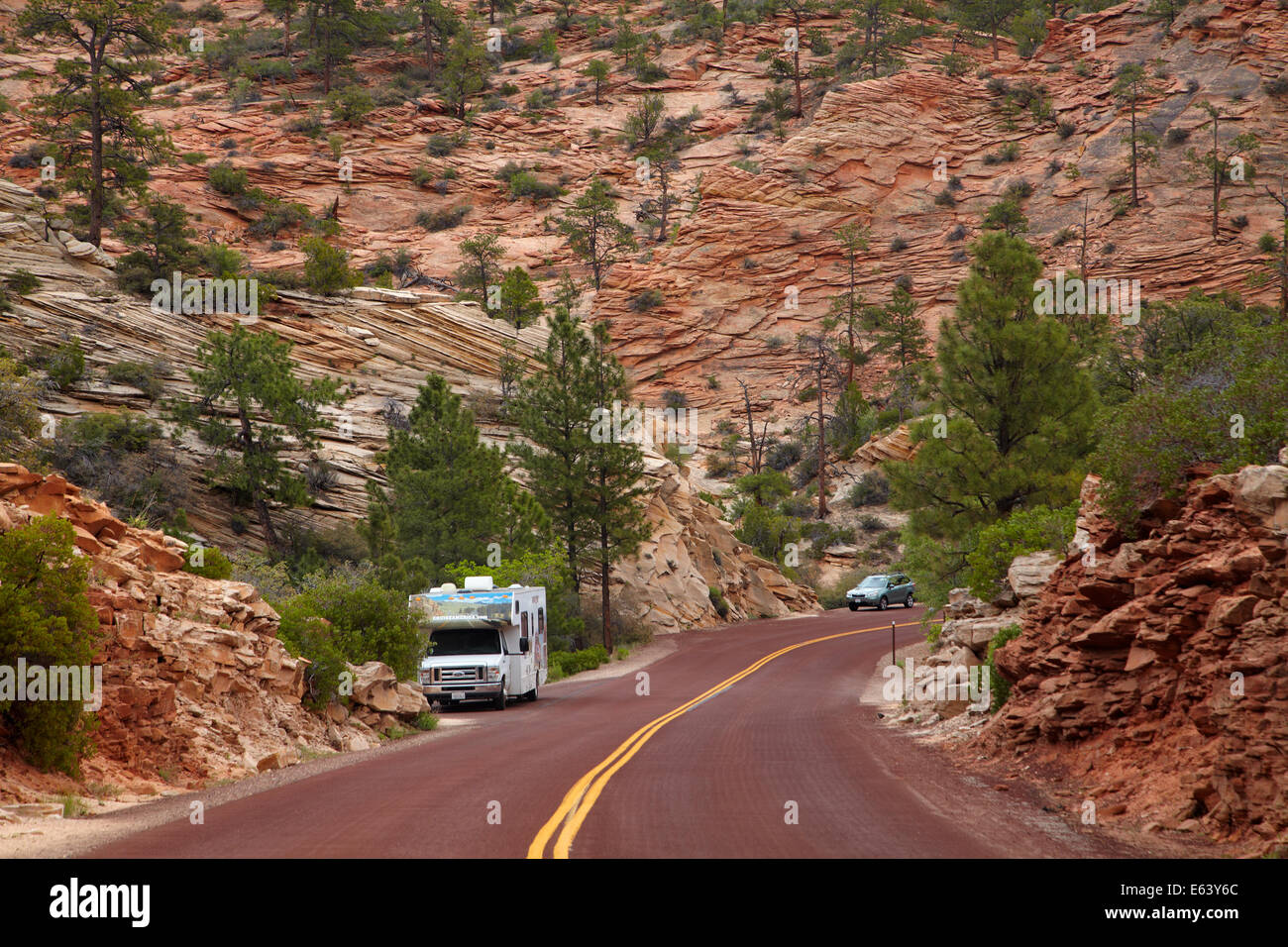 RV beside Zion – Mount Carmel Highway, Zion National Park, Utah, USA - Stock Image