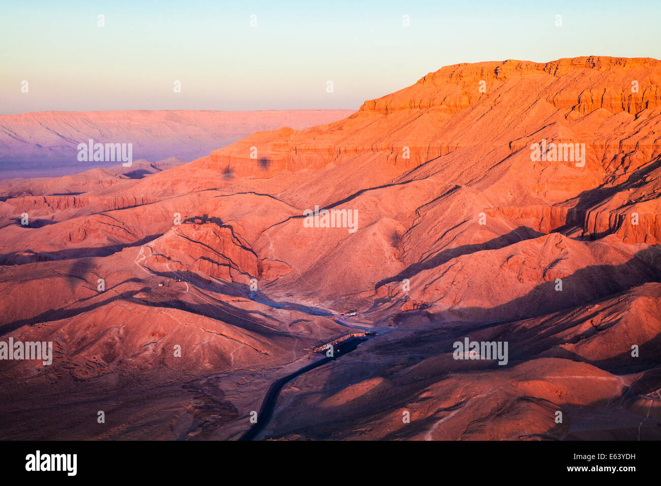 Aerial view of the desert landscape of the Valley of the Kings on West Bank of the Nile in Egypt. - Stock Image