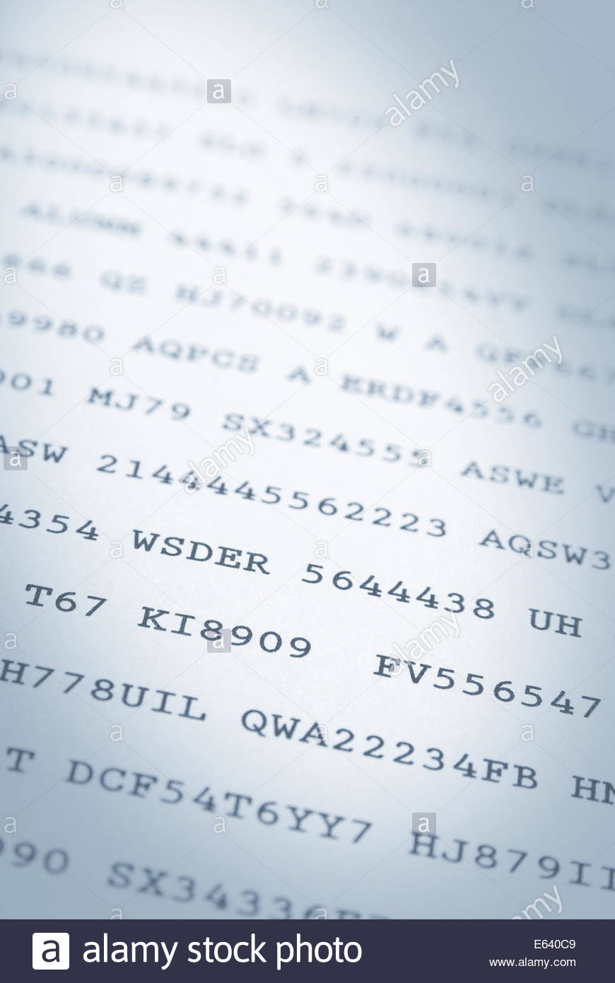 Close up of random codes of numbers and letters on paper - Stock Image