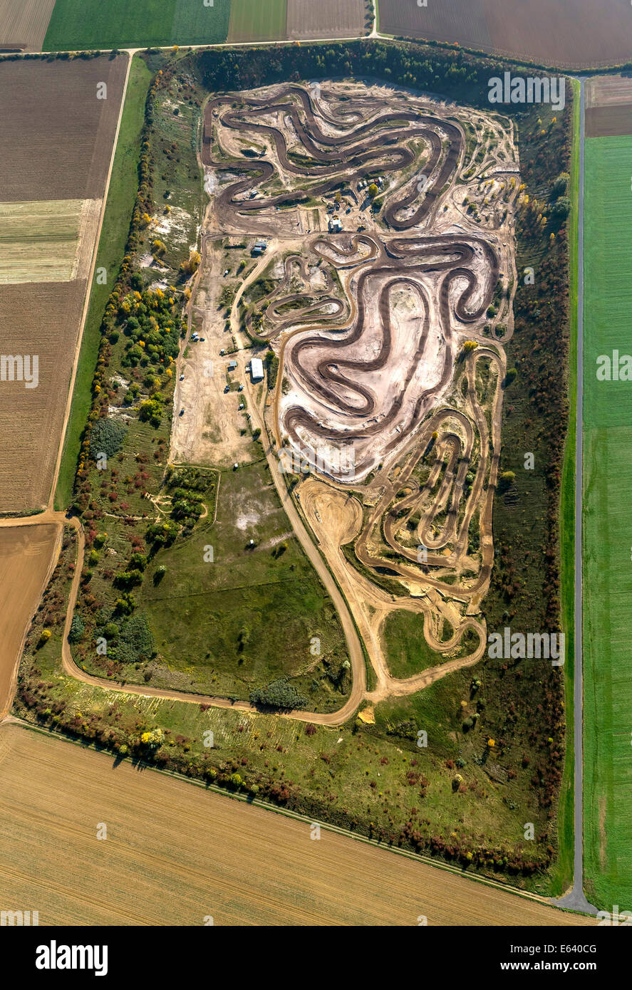 Aerial view, motocross track, Grevenbroich, North Rhine-Westphalia, Germany - Stock Image